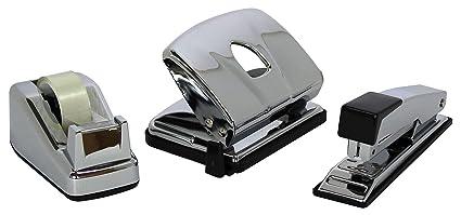 M & M 65460461 - Juego de accesorios de oficina (grapadora, perforadora y dispensador
