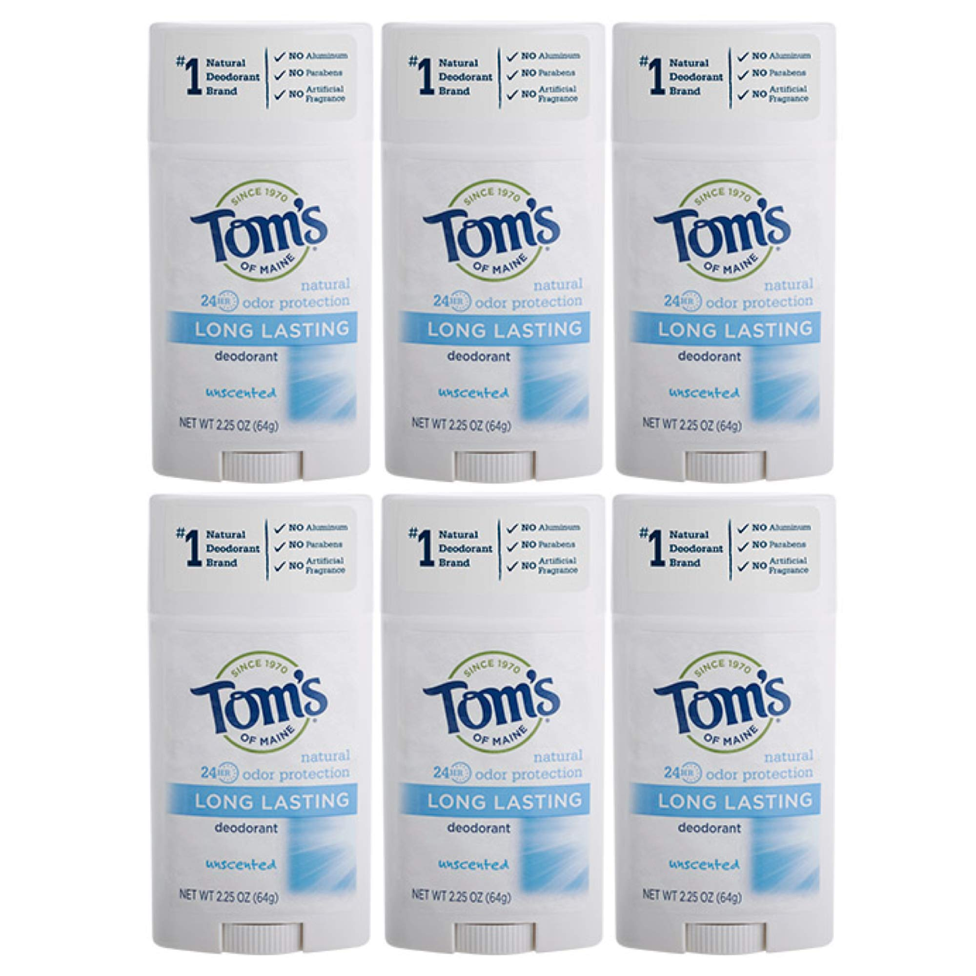 Tom's of Maine Natural Deodorant Stick, Unscented, 2.25 Ounce, Pack of 6 by Tom's of Maine