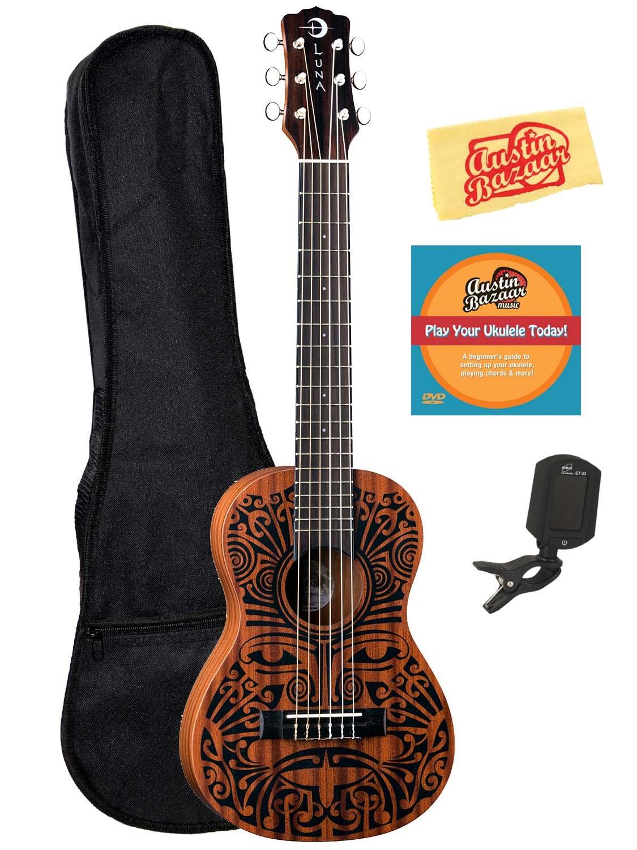Amazon luna tribal 6 string ukulele bundle with gig bag amazon luna tribal 6 string ukulele bundle with gig bag tuner austin bazaar instructional dvd and polishing cloth musical instruments hexwebz Images