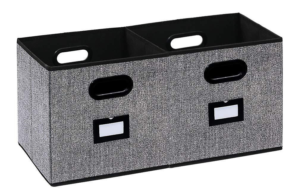 homyfort Caja de Almacenaje con 2 pcs, Set de 2 Cajas de Juguetes, Caja de Tela para Almacenaje, 30 x 30 x 30 cm, Negro Lino XAB02P: Amazon.es: Hogar