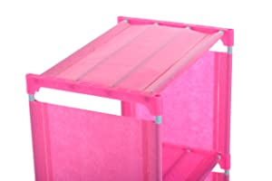 R. K. INTERNATIONAL Simple Open Book Shelf 5 Box Made of Metal & Plastic  (Finish Color - Pink)