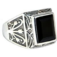 Mens Solid Sterling 925 Silver Black Onyx Gents Ring, Authentic Gemstone Signet Style Rings! Sizes P to Z+5