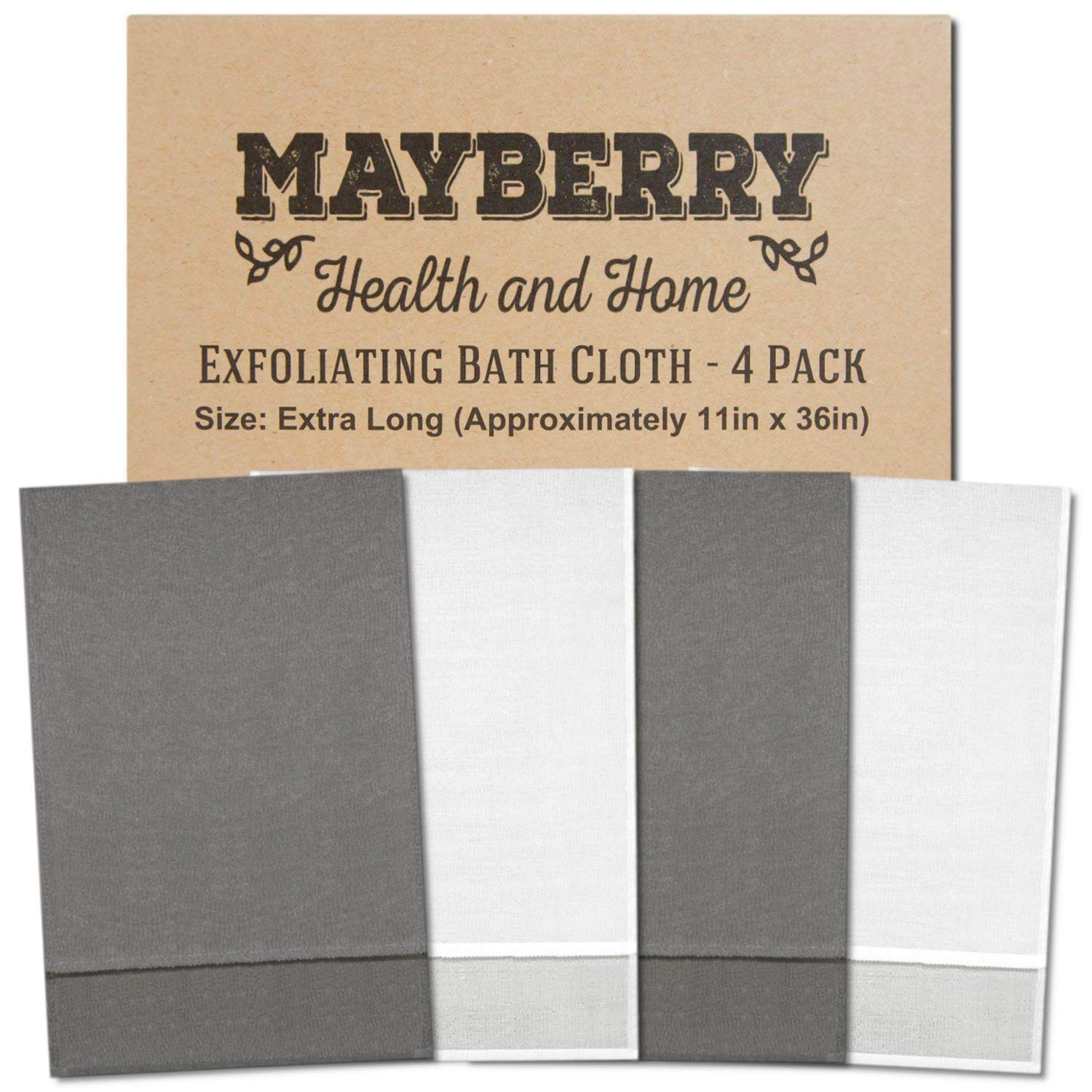 Extra Long (36 Inches) Exfoliating Bath Cloth/Towel (4 Pack) Nylon Bath Cloth/Towel, Stitching on All Sides for Added Durability (Gray and White)