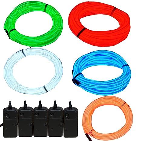 JYtrend 5 Pack 9ft Neon Light El Wire w/Battery Pack on neon walls, neon pumps, neon kitchen, neon glass, neon transformers,
