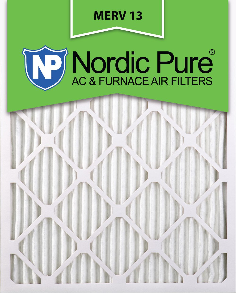 16x25x2 MERV 13 AC Furnace Filter Qty 12 by Nordic Pure