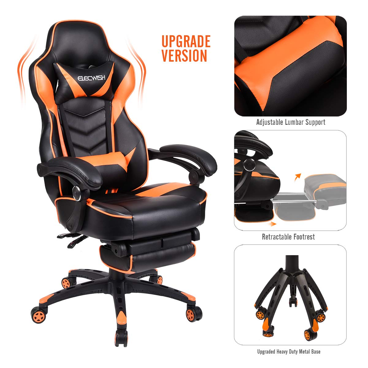 Video Gaming Chair Racing Office - Reclining PU Leather High Back Ergonomic Adjustable Swivel Executive Computer Desk Large Size Footrest Headrest Lumbar Support Adjustable arms Cushion (Orange)