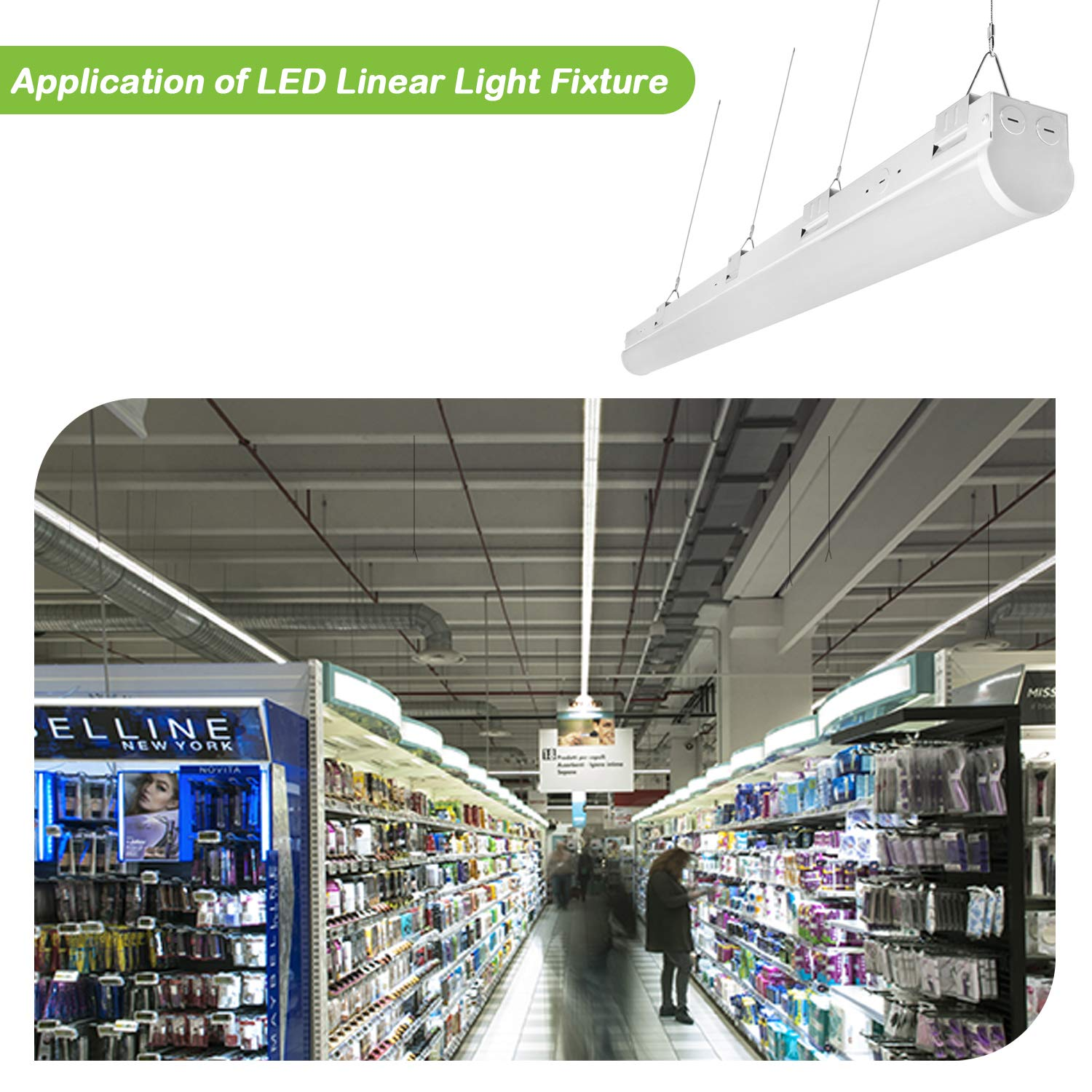 Hykolity 8FT LED Shop Linear Strip Light Fixture Linkable 64W 8400lm Replaces up to 4-lamp 32-Watt T8 fluorescent Tube Low Bay Commercial Industrial 5000K 0-10V Dimmable UL DLC Listed 2 Pack by hykolity (Image #8)