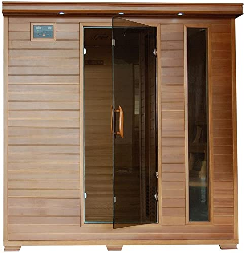 HeatWave Great Bear SA1323 6 Person Cedar Corner Infrared Sauna with 10 Carbon Heaters Bronze Tinted Tempered Glass Door Oxygen Ionizer EZTouch Cortrol Panel CHROMOTHERAPY System and Sound