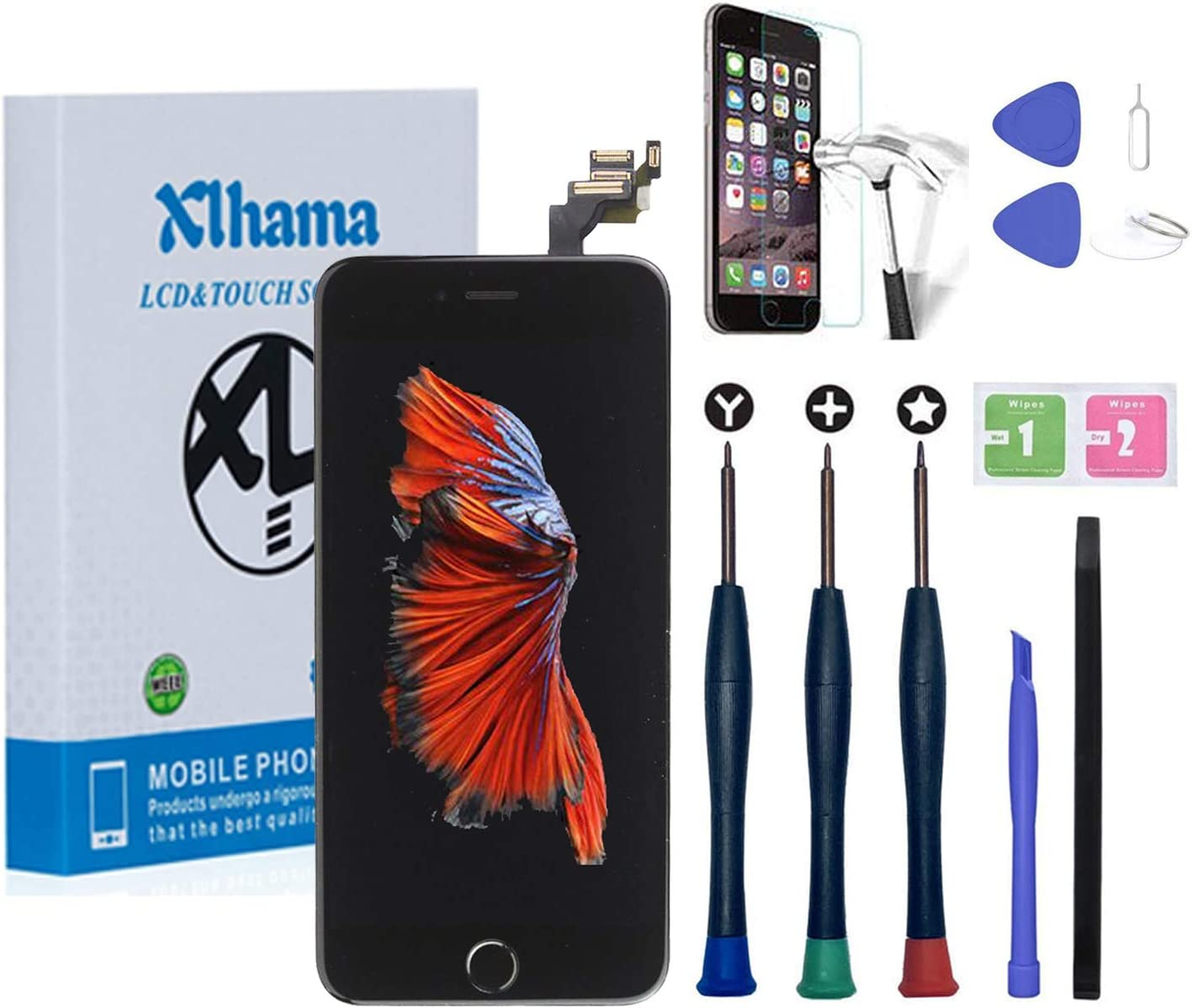 Earpiece Xlhama LCD Touch Screen for iPhone 8 Black 4.7Assembled with Proximity Sensor Front Camera and Repair Kit Full Assembly Repair Not Include Home Button
