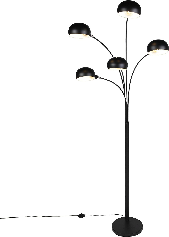 5 x 25 Watt//Indoor Lighting//Lights//Lamps//Living Room QAZQA Design Design Floor lamp Black 5-Light Sixties Steel Oblong E14 Max