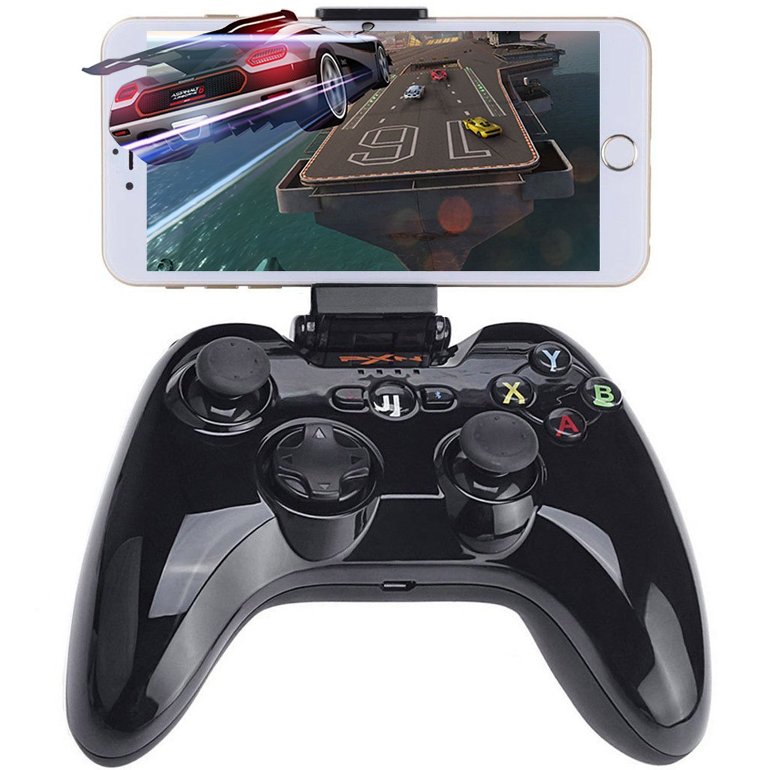 Apple Bluetooth Gaming Controller, MFi Certified iOS Wireless Controller Gamepad Joystick with Clamp Holder for iPhone X, 8 Plus, 8, 7 Plus, 7 6S 6 5S 5, iPad Pro Air Mini, Apple TV, iPod – Black