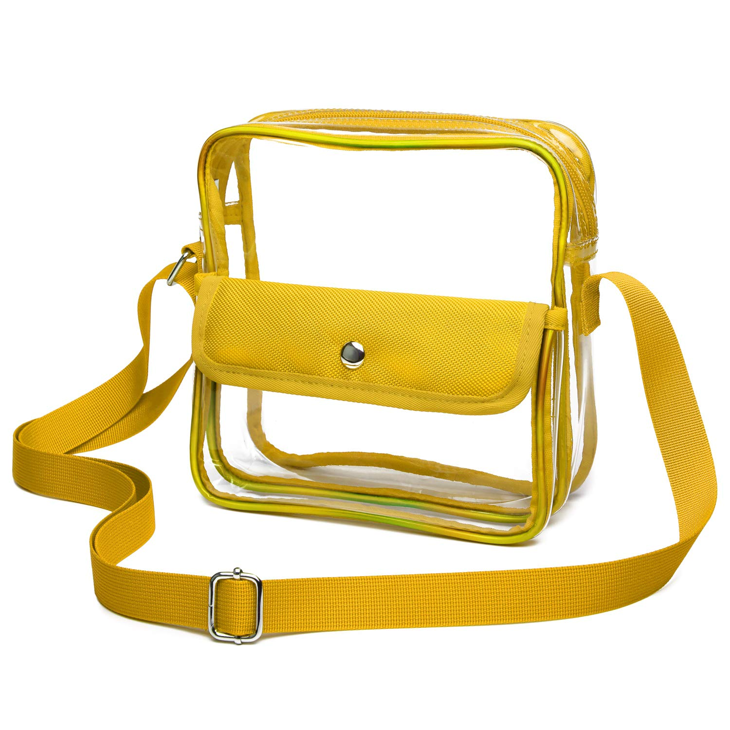 iSPECLE Clear Purse, Clear Stadium Bag Approved for NFL, PGA, NCAA, Adjustable 4.92ft Shoulder Strap for Women Girl Yellow