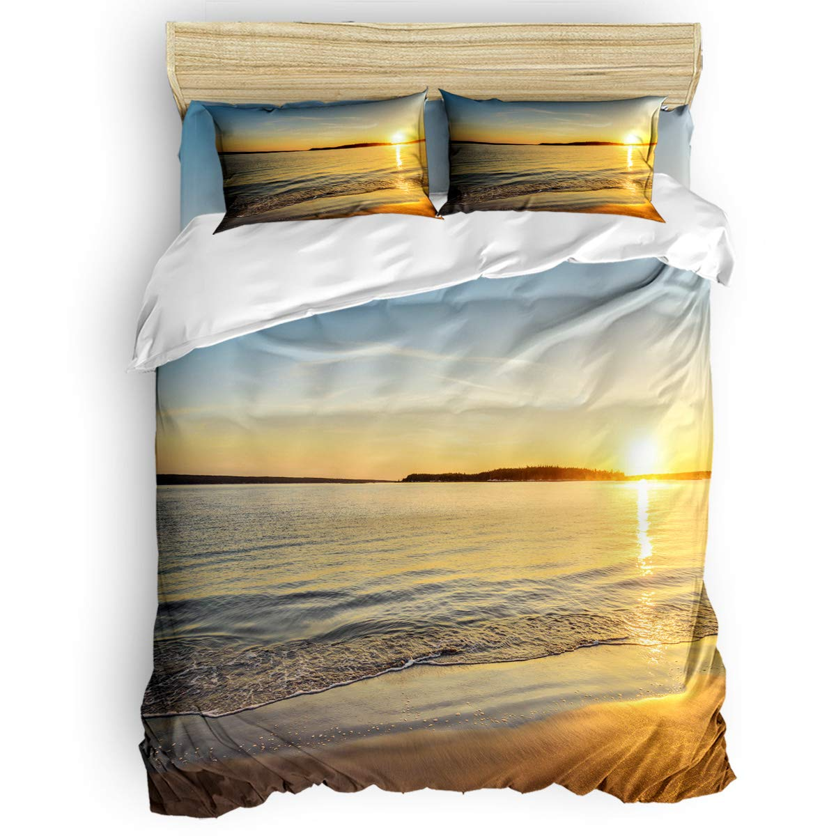 掛け布団カバー 4点セット たんぽぽ 寝具カバーセット ベッド用 べッドシーツ 枕カバー 洋式 和式兼用 布団カバー 肌に優しい 羽毛布団セット 100%ポリエステル キング B07TGCZZKG SunsetLAS2304 キング