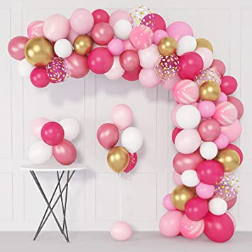 144 Pcs Pink Balloons Garland Arch Kit 12'' 10'' 5'' Hot Light Pink Gold  White Confetti Latex Metallic Balloons for Birthday Wedding Baby Shower  Party Decorations Supplies with 4 Pcs Balloon Tools: