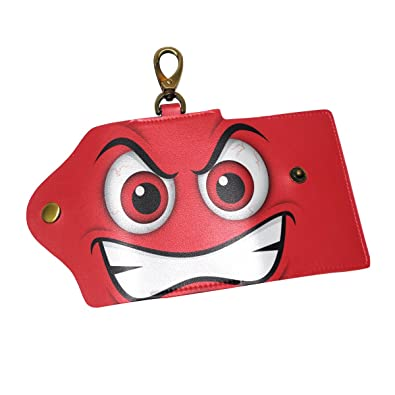 Amazon.com  KEAKIA Emoji Red Mad Emoticon Leather Key Case Wallets ... f56188e17
