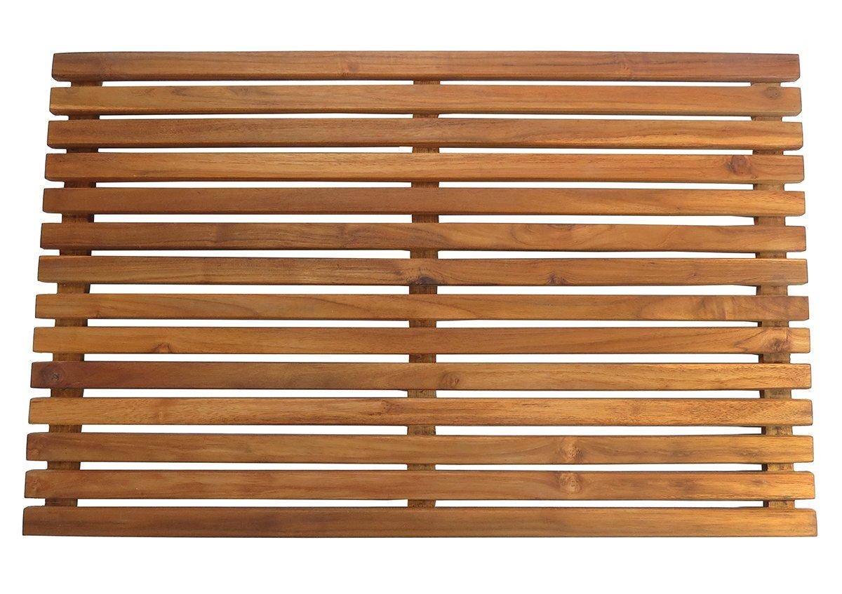 SeaTeak 60022 Teak Shower or Door Mat, Oiled Finish, Rectangular