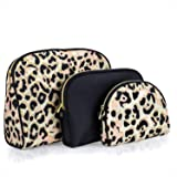 Once Upon A Rose 3 Pc Cosmetic Bag Set, Purse Size Makeup Bag for Women, Toiletry Travel Bag, Makeup Organizer, Cosmetic Bag for Girls Zippered Pouch Set, Large, Medium, Small (Black & Leopard)