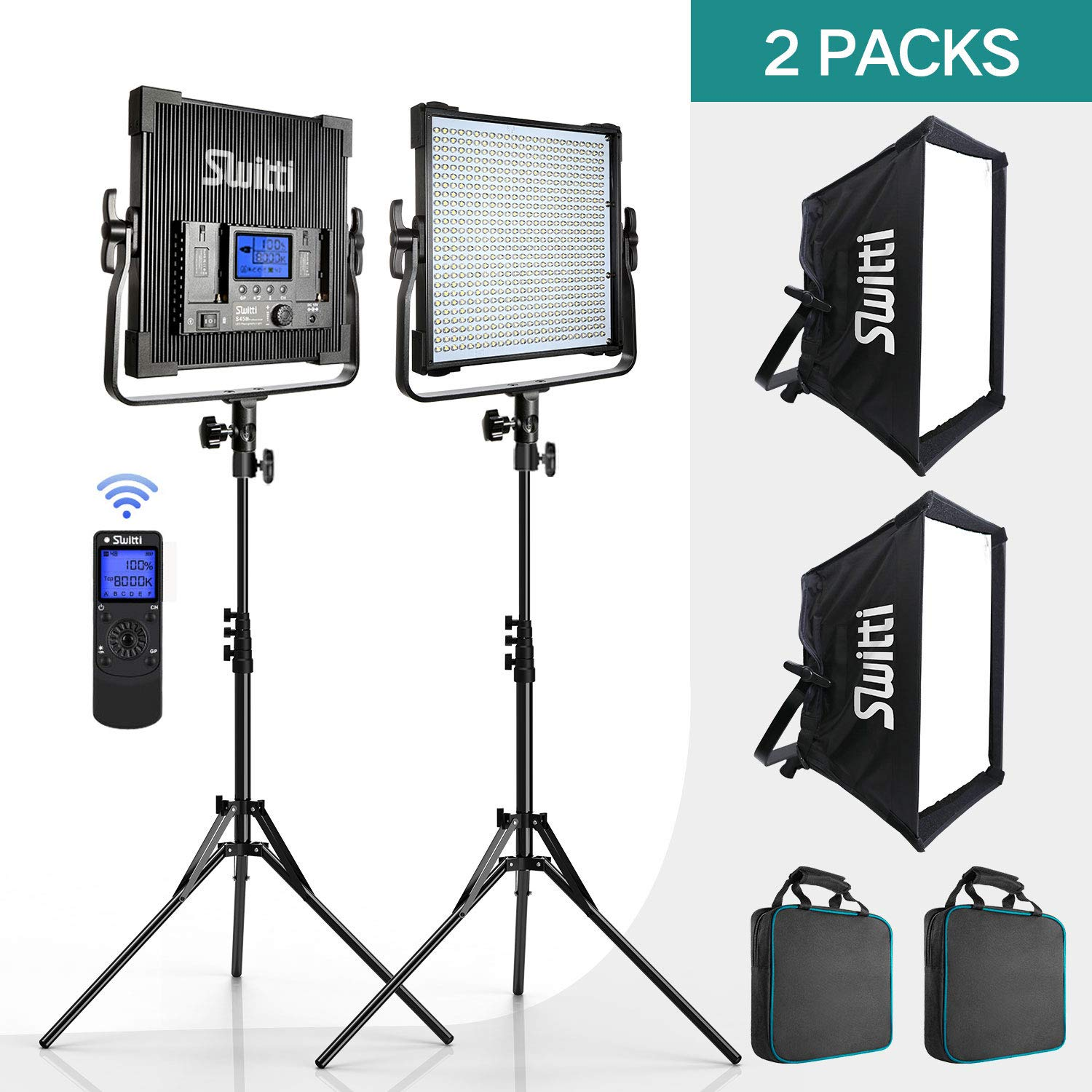2 Packs Bi-Color 600 LED Video Lights 45W, Switti Led Light Panels with Light Stands Softbox Lighting Kit 3000K-8000K CRI96+, Lights for Video Studio YouTube Product Photography Shooting(RC Included)