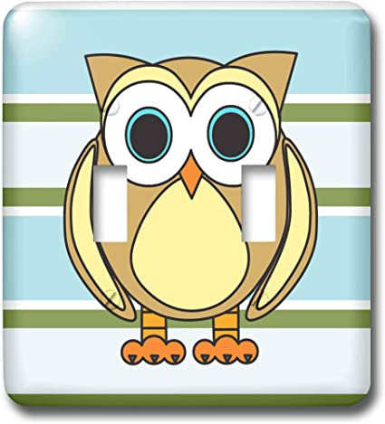 3drose Lsp 28538 2 Cute Owl Blue Green Stripe Double Toggle Switch Switch Plates Amazon Com