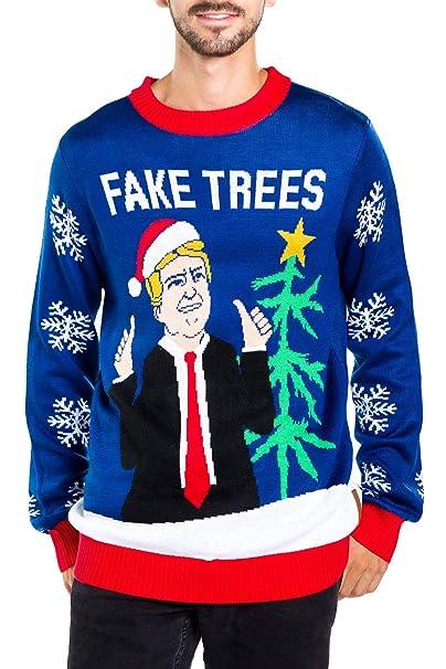 Donald Trump Ugly Christmas Sweater.Men S Fake News President Christmas Sweater Blue Donald Trump Fake Trees Ugly Christmas Sweater