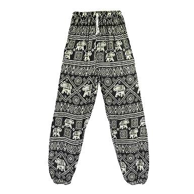 Yefree Pantalones de harén con Estampado de Elefante para ...