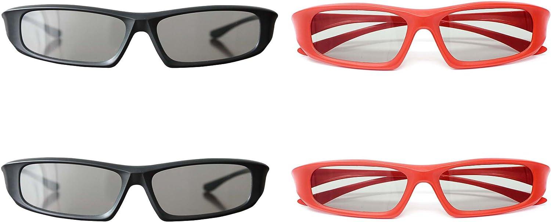 Ultra 2 Rojo 2 Negro Par Gafas 3D para Adultos para Uso con todas ...