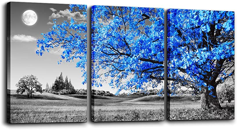 Amazon Com Wall Art For Living Room Black And White Blue Tree Moon Canvas Wall Decor For Home Artwork Painting 12 X 16 3 Pieces Canvas Print For Bedroom Decor Modern Salon Kitchen