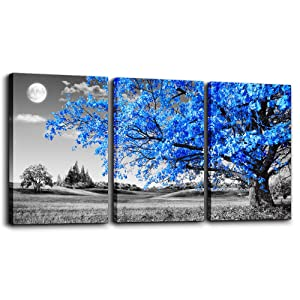 "Wall Art For Living Room black and white Blue tree moon Canvas Wall Decor for Home artwork Painting 12"" x 16"" 3 Pieces Canvas Print For bedroom Decor Modern Salon kitchen office Hang a picture"