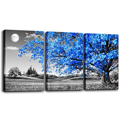 TTHWALLART Wall Art Living Room Black White Blue Tree Moon Canvas Wall  Decor Home Artwork Painting