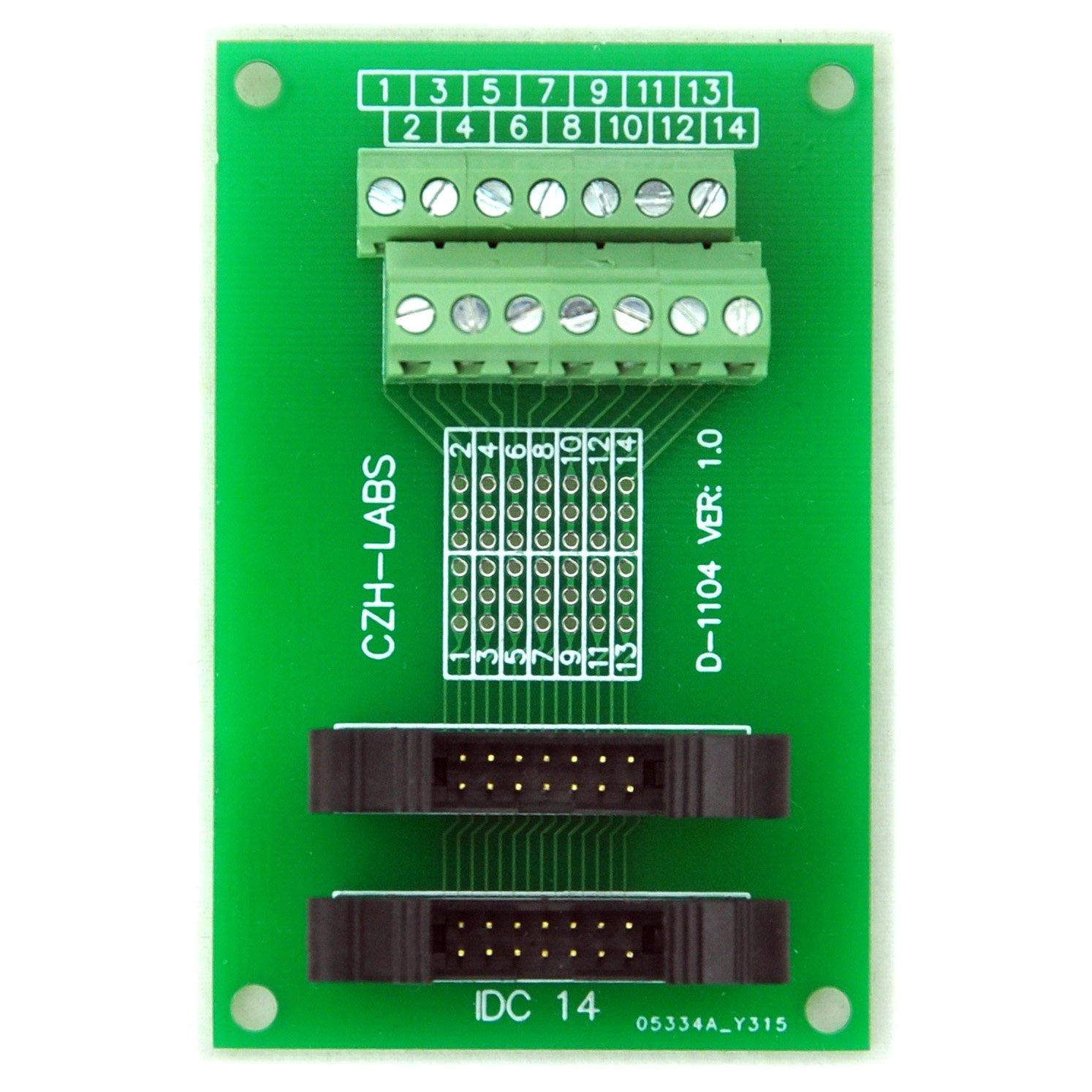 Electronics-Salon IDC-14 2x7pins 2.0mm Dual Male Header Breakout Board, Screw Terminal Connector.