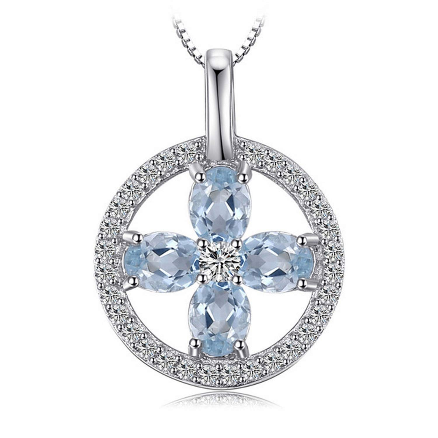 CS-DB Jewelry Silver CZ and Flower 0.8ct Natural Aquamarine Chain Charm Pendants Necklaces