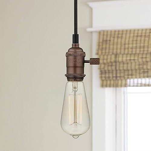 Bronze Bare Bulb Cloth Cord Mini-Pendant Light Socket Assembly