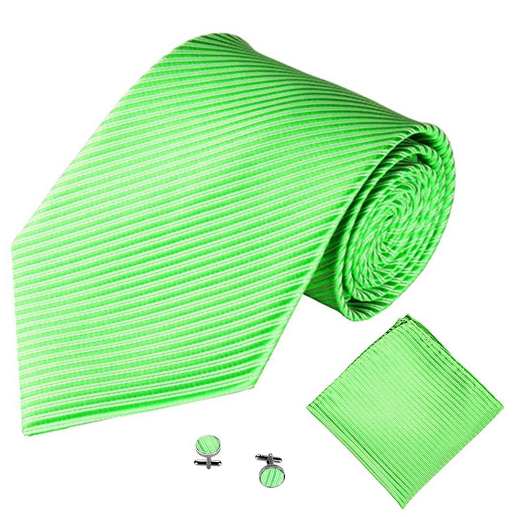 Potato001 Men Solid Color Stripe Jacquard Business Necktie Handkerchief Cuff Links Set