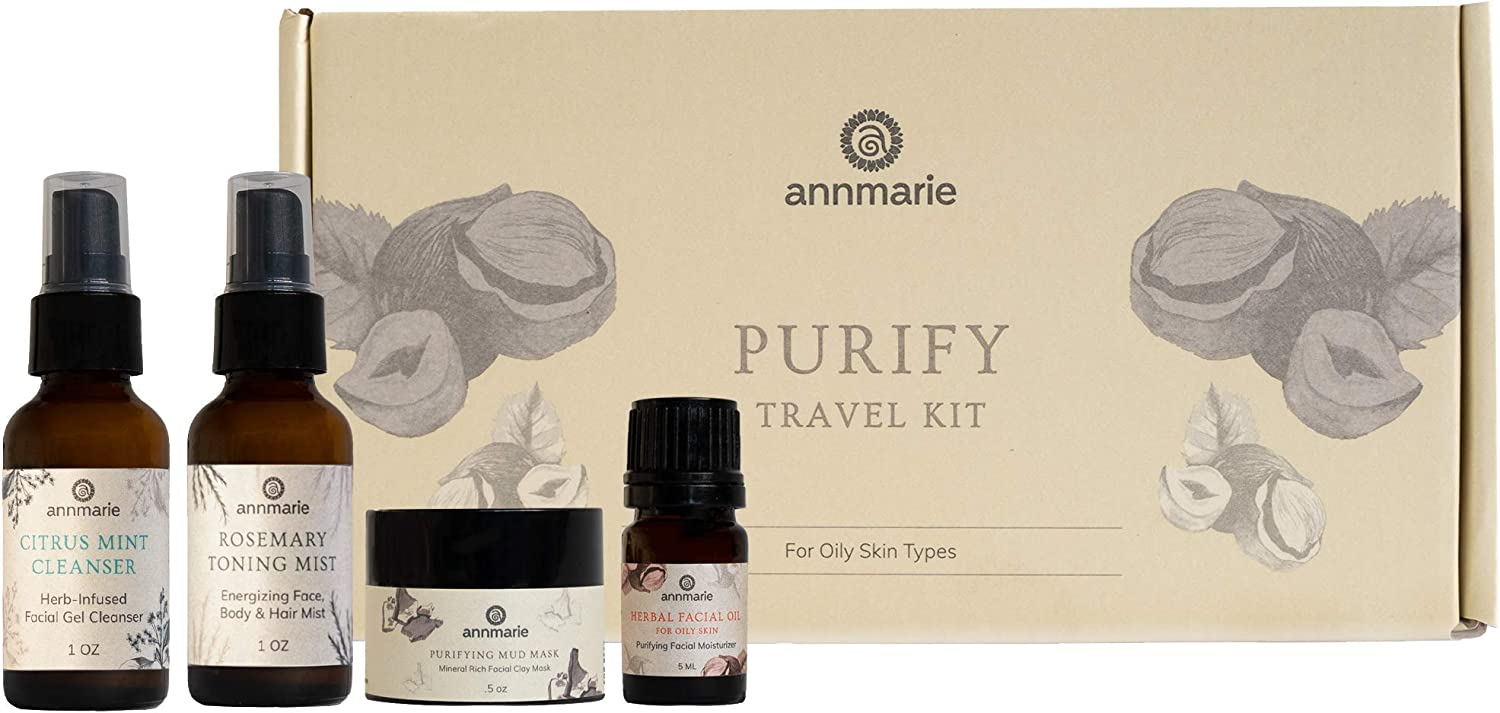 Annmarie Skin Care Purify Travel Kit - Oily Skin Care Set with Cleanser, Toning Mist, Facial Oil + Mud Mask (4 Piece Kit)