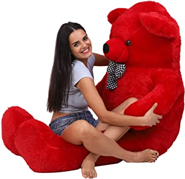 OSJS Stuffed Spongy Teddy Bear with Neck Bow, Red 3 Feet (90 cm)
