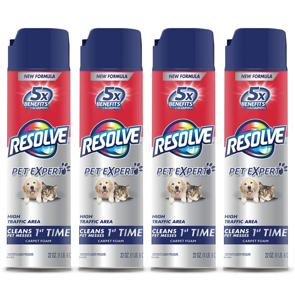 Resolve Pet High Traffic Carpet Foam, 88 oz (4 Cans x 22 oz), Cleans Freshens Softens & Removes Stains by Resolve
