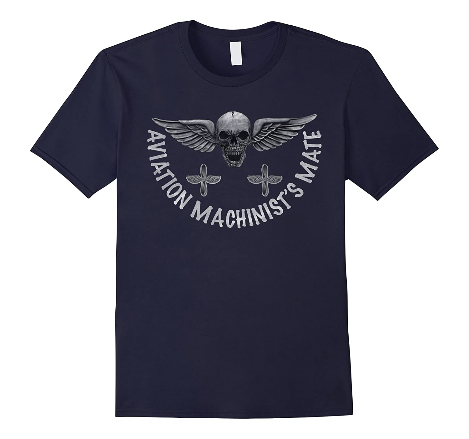 AVIATION MACHINISTS MATE DISTRESSED WINGED SKULL T-SHIRT-CD