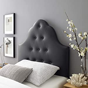 Modway Sovereign Tufted Button Faux Leather Upholstered Twin Headboard in Black