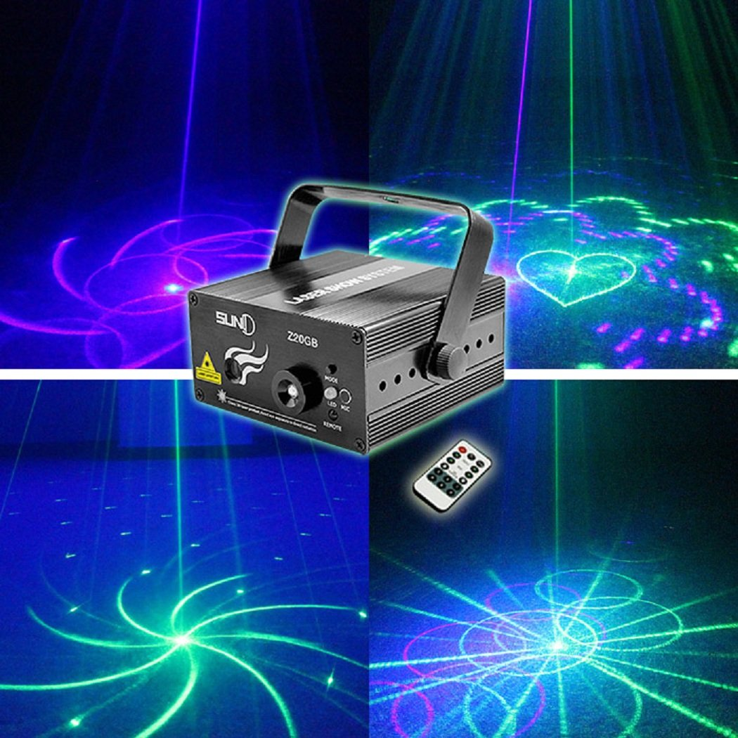 SUNY Laser Lighting 24 Mixed Patterns Green Blue DJ Laser Light Blue LED Music Laser Projector Z24GB Remote Control Sound Activated Stage Lighting Dance House Decoration Xmas Holiday Event Party Show