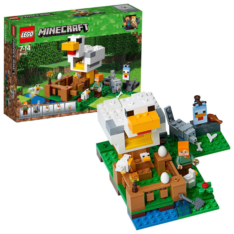 LEGO Minecraft - Gallinero, Juguete Educativo de Construcción del Videojuego con Muñecos de Lobo y Alex para Niños y Niñas de 7 a 14 Años (21140)