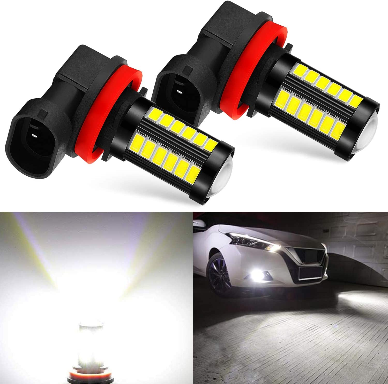 JDM ASTAR Bright White Output 5730 33-SMD H11 H8 H16 High Power Super Bright 360 Beam Led Fog Light Bulbs With Projector