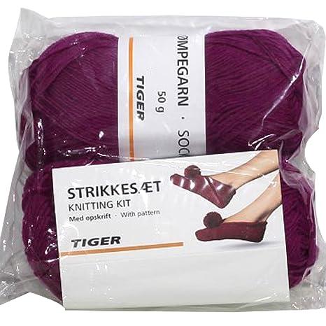 Nueva 2 madejas lana calcetines Zapatillas Patrón para tejer ganchillo Set con lana