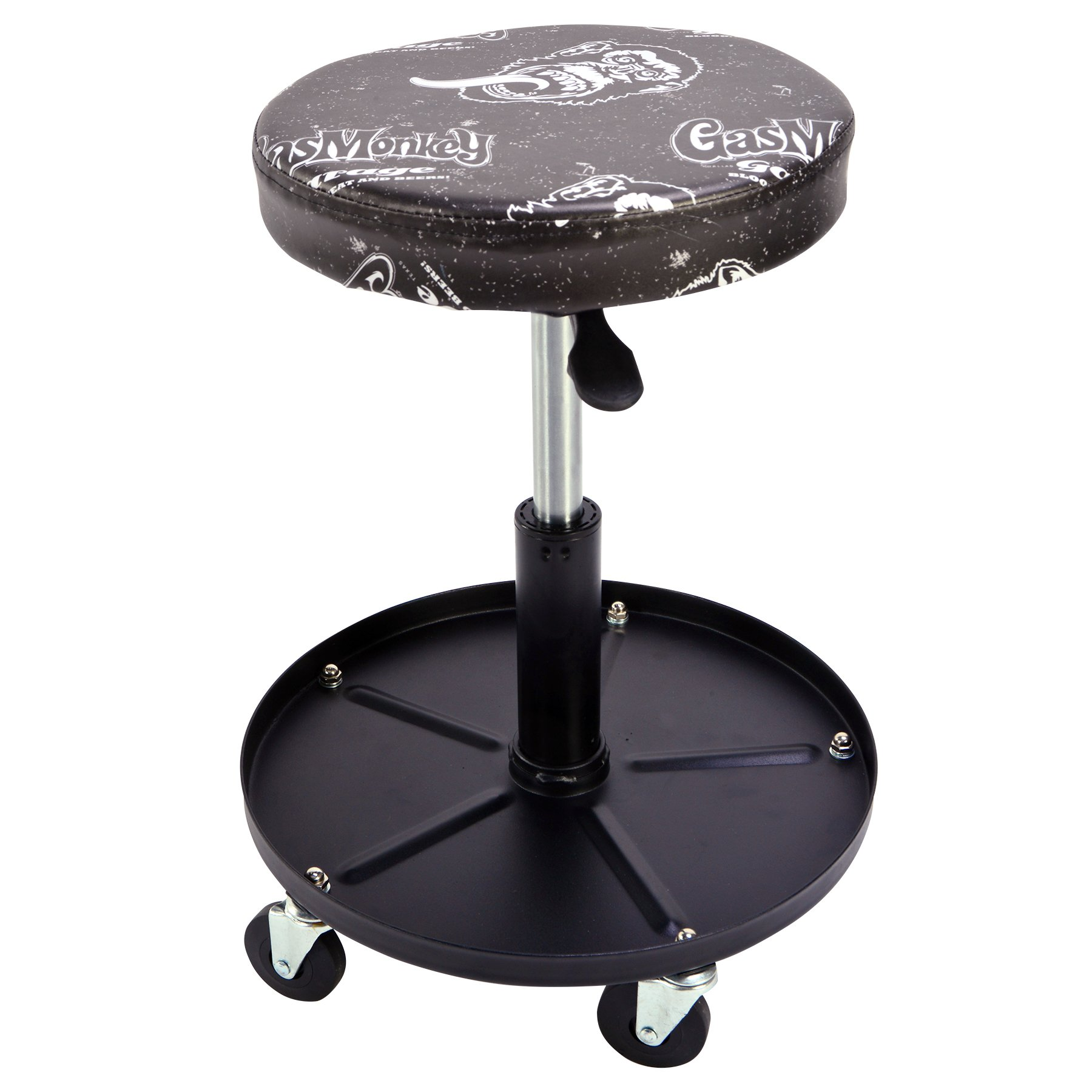 Gas Monkey Pneumatic Garage Chair with Tool Tray - 5 Rolling Casters with 300 Lbs Capacity by Gas Monkey