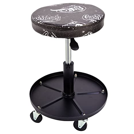 Gas Monkey Pneumatic Garage Chair With Tool Tray   5 Rolling Casters With  300 Lbs Capacity