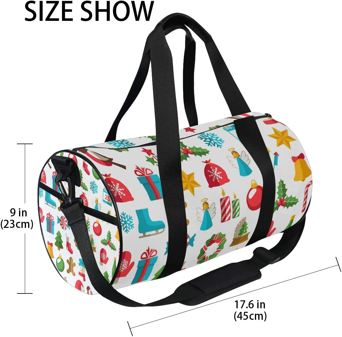 MALPLENA Merry Christmas December 25Th Drum gym duffel bag women Travel Bag
