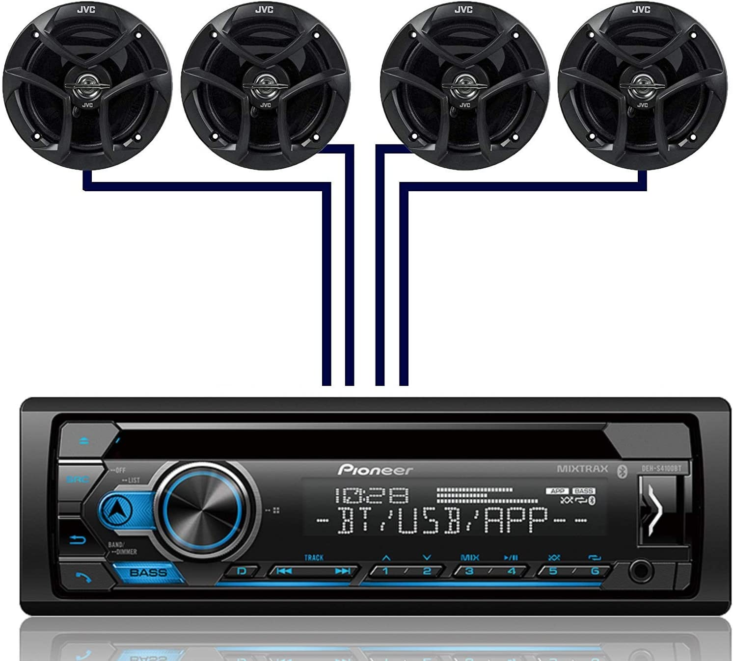 Pioneer DEH-S4100BT Single DIN Bluetooth InDash CD USB MP3 AUX AM FM MIXTRAX Pandora Spotify Android Car Stereo Receiver with 2 Pairs JVC 6.5 300W 2-Way Coaxial Car Speakers