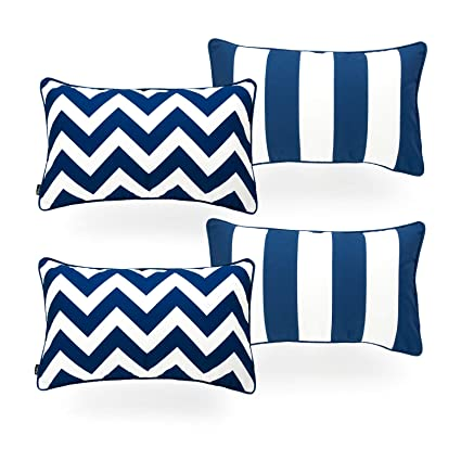 Astounding Hofdeco Indoor Outdoor Lumbar Pillow Cover Only Water Resistant For Patio Lounge Sofa Navy Blue White Stripes Chevron 12X20 Set Of 4 Pabps2019 Chair Design Images Pabps2019Com