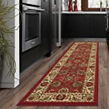 "Ottomanson Ottohome Collection Traditional Persian Oriental Floral Design Non-Skid Rubber Backing Runner Rug, 20"" X 59"", Dark Red"