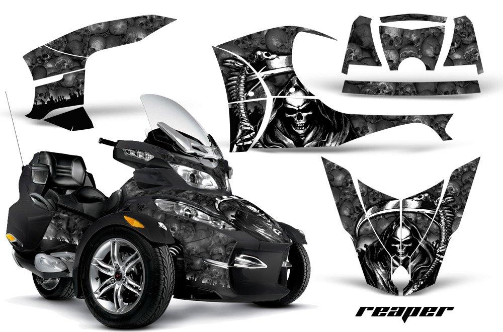 AMR Racing Graphics Can - Am Spyder rt-sロードスタービニールラップキット – Reaperブラック   B01MUAZLAK