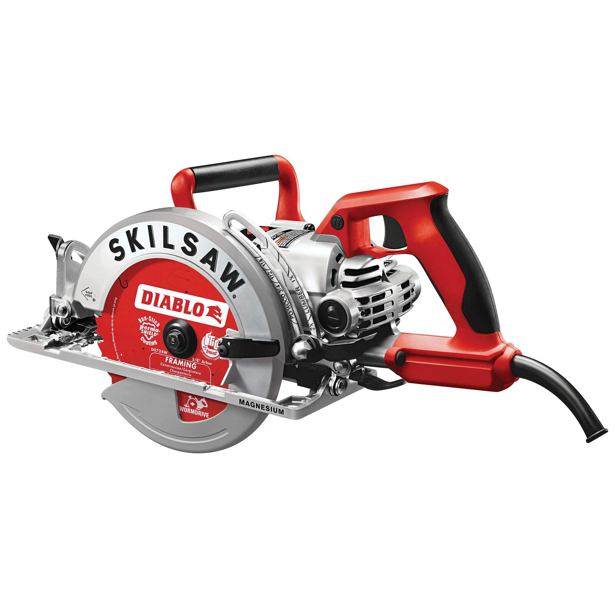 Skilsaw 7.25 Inch Corded Magnesium Worm Drive Circular Saw with Diablo Blade